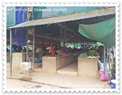 แผงขายผักในตลาดซำเหนือ